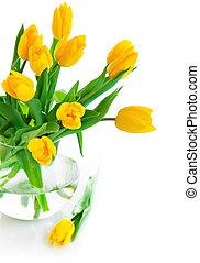 黃色的郁金香, 花, 在, 玻璃瓶