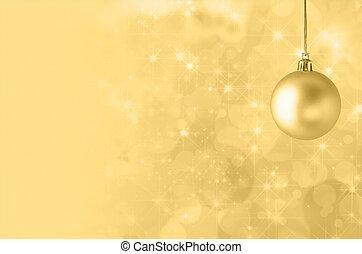 黃色, 圣誕節小玩意, 上, 不滿星星的, bokeh, 背景