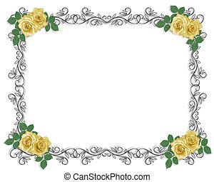 黃色, 婚禮, 邊框, 玫瑰