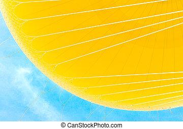 黃色, 熱的空氣汽球, 上, 藍色的天空
