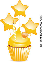 黃色, 生日, cupcake