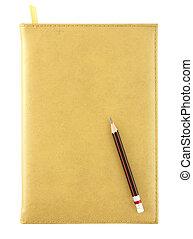 黃色, 皮革, 筆記本, 以及, 鉛筆, 被隔离, 在懷特上, 由于, 裁減路線