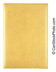 黃色, 皮革, 筆記本, 被隔离, 在懷特上, 由于, 裁減路線