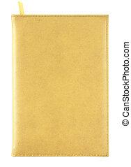 黃色, 皮革, 筆記本, 覆蓋, 被隔离, 在懷特上, 由于, 裁減路線