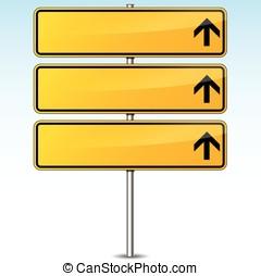黃色, 空白, 路標