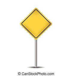 黃色, 空白, 路標, 被隔离, 在懷特上