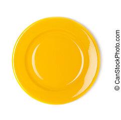 黃色, 空, 盤子, 在懷特上, 背景