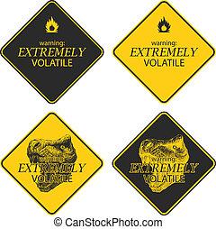黃色, 警告, 以及, 危險, 簽署, 彙整