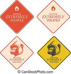 黃色, 警告, 以及, 危險, 簽署, 彙整, eps8