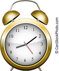黃色, 警報, clock., 矢量