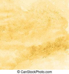 黃色, 金, 水彩, 結構, 背景, 手, 繪