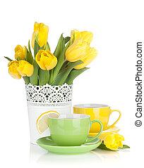 黃色, 鬱金香, 以及, 茶, 由于, 檸檬