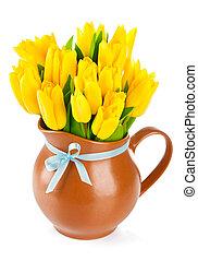 黃色, 鬱金香, 花, 在, 壺