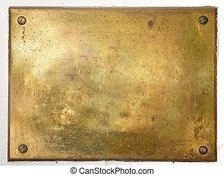 黃色, 黃銅, 金屬盤子, 邊框