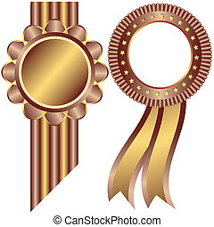 黃金, 以及, 咖啡, 裝飾, 框架, (vector)