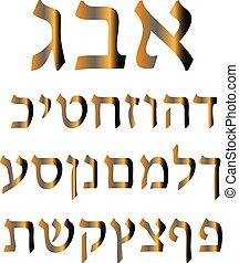 黃金, 希伯來人, alphabet., 矢量, 插圖