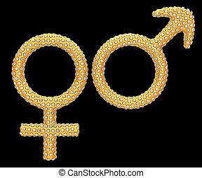 黃金, 性符號, 鑲嵌, 由于, 鑽石