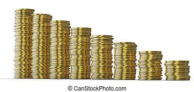 黃金, 成功, 硬幣, 或者,  drop:, 堆