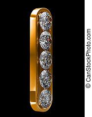 黃金, 我, 信, incrusted, 由于, 鑽石
