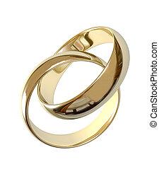 黃金, 戒指, 二, 被隔离, 婚禮, 白色