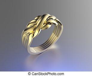 黃金, 戒指, 約會, 寶石, 珠寶