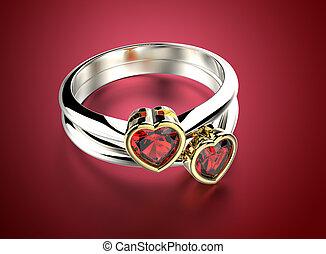 黃金, 戒指, 約會, 鑽石