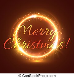 黃金, 星, 閃耀, 環繞, 圣誕節卡片
