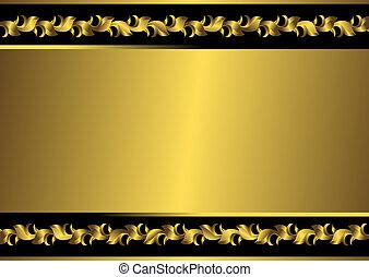 黃金, 框架, 黑色, (vector), 葡萄酒
