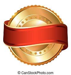 黃金, 標簽, 由于, ribbon.
