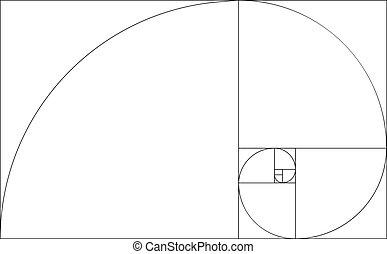 黃金, 比率, 樣板, vector., 黃金, 部分, 框架