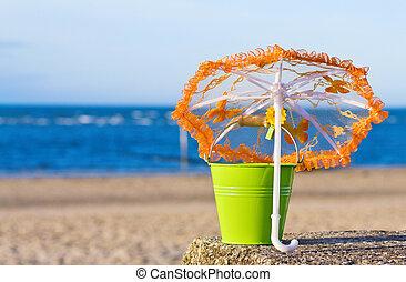 黃金, 海灘。, 夏天, 假期