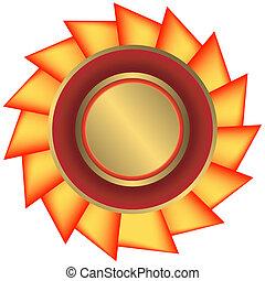 黃金, 獎章, 由于, 帶子, (vector)