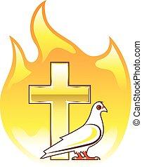 黃金, 產生雜種, 著火, 由于, 鴿, 近