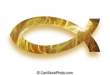黃金, 發光, 基督教徒, fish, ichthys, 符號, 由于, 下跌影子