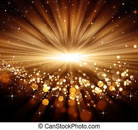 黃金, 發光, 聖誕節, 背景