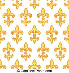 黃金, 百合花, seamless, 背景圖形