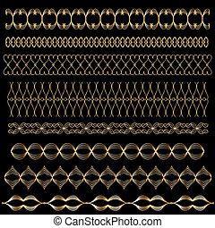 黃金, 矢量, 修剪, 或者, 邊框, 集合