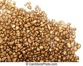 黃金, 石頭, 在懷特上, 背景, 由于, 模仿, space.