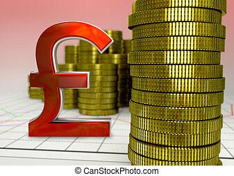 黃金, 硬幣, 以及, 紅色, 磅符號