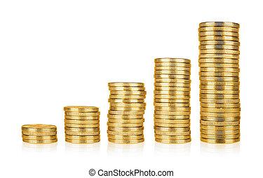 黃金, 硬幣, 堆
