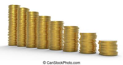 黃金, 硬幣, 或者, 成長,  recession:, 堆