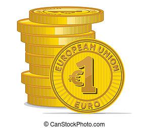 黃金, 硬幣, 由于, 歐元簽署