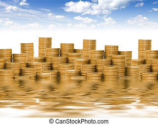 黃金, 硬幣, 針對, the, 藍色的天空