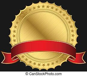 黃金, 空白, 標簽, 由于, 紅色