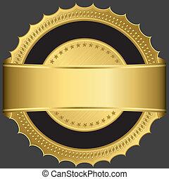 黃金, 空白, 標簽, 由于, 黃金, ribb