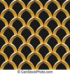 黃金, 籠子, seamless, 圖案