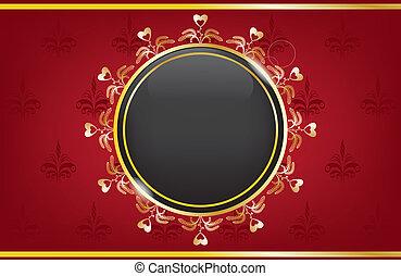 黃金, 紅的箱子, 由于, a, 黑色的球