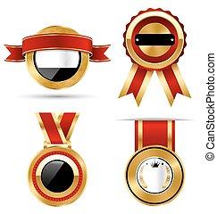 黃金, 紅黑色, 保險費, 質量, 最好, 標籤, 彙整, 被隔离, 在懷特上