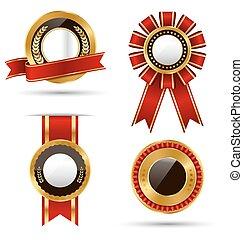 黃金, 紅黑色, 保險費, 質量, 最好, 標籤, 彙整, 被隔离