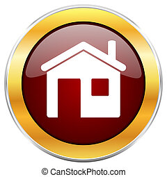 黃金, 网, 房子, button., 被隔离, 背景。, 有光澤, 白色, 邊框, 輪, 紅色, 圖象